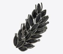 Zweifingerring aus Metall und schwarzem Kristall
