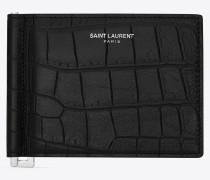 klassisches saint laurent portemonnaie mit geldscheinclip aus schwarzem leder mit krokodillederprägung