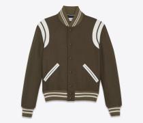 Klassische Teddy-Jacke aus khakifarbener Wolle