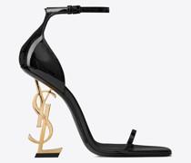 Opyum Sandale aus Lackleder mit Goldfarbenem Absatz Schwarz