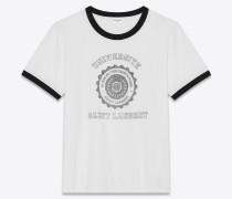 Weißes und schwarzes Saint Laurent Université Ringer T-Shirt mit kurzen Ärmeln