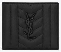 monogram east/west portemonnaie aus schwarzem mischleder mit matelassé-nähten.
