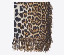 Großer, quadratischer Schal aus schwarzem und beigem Wolltuch mit Leopardenprint