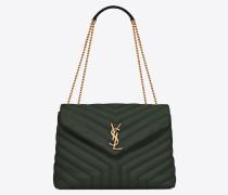 Mittlere Loulou Chain Bag aus dunkelgrünem Leder mit Y-Steppnähten