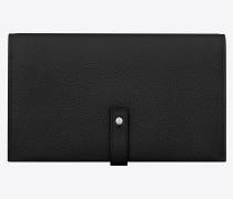weiches, flaches sac de jour portemonnaie aus schwarzem narbenleder