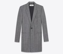Chesterfield-Mantel aus grauem Wollgewebe mit Fischgrätenmuster und spitzem Revers