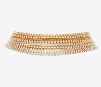 Crystal Chains Choker In Metal Gelb/gold