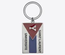 """""""saint laurent université"""" schlüsselring aus silberfarbenem metall und schwarzem, rotem und blauem email"""