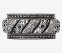 marrakech armreif aus silberfarbenem zinn mit schwarzem agat