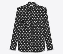 oversize-hemd mit spitzem kragen und schwarz-weißem sternenprint