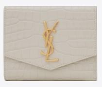 Uptown Kompaktes Portemonnaie aus Glänzendem Leder mit Krokoprägung Weiß