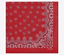 quadratischer bandanaschal aus kaschmir mit rot-weißem paisleymuster und silketamin