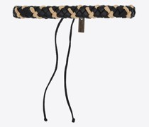 Woven Diagonal Leather And Cord Bracelet Schwarz