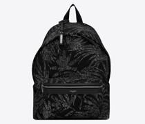City Rucksack aus Canvas mit Tropischem Print Schwarz