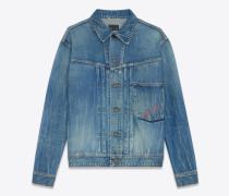 Oversize-Jacke aus ausgebleichtem Denim mit Loulou-Stickerei