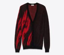 Jacquard Cardigan mit Flammenmuster aus schwarzem und rotem Mohair und Wolle