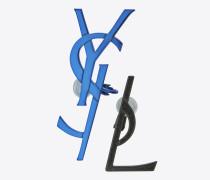 MONOGRAM dekonstruierte Ohrringe aus blauem und schwarzem Messing