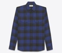 Oversize-Hemd aus blauer und schwarzer Baumwolle mit Karomuster