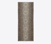 foulard aus naturfarbenem kaschmir und seiden-etamin in babycat-print