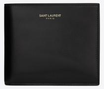 klassisches saint laurent east/west portemonnaie aus schwarzem leder