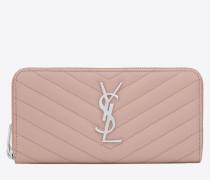 monogram Zip Around Wallet in Pale Blush Grain de Poudre Textured Matelassé Leather
