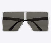 new wave 182 betty sonnenbrille aus glänzend silberfarbenem metall mit grauen nylongläsern