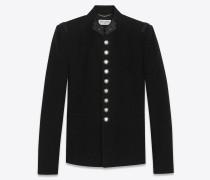 Offiziersjacke aus schwarzem, gebürstetem Velours