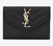 kleines monogram umschlag-portemonnaie aus schwarzem matelassé-leder mit grain de poudre struktur