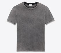 boyfriend-t-shirt aus grauem und ausgebleichtem schwarzem destroy-jersey