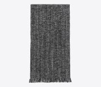 Schal aus schwarzem und hellgrauem Woll- und Kaschmirstrick mit diagonalem Fischgrätenmuster