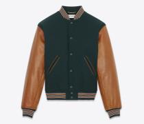 Collegejacke aus grüner Wolle mit cognacbraunen Lederärmeln