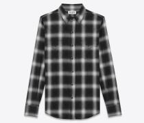 klassisches western-hemd aus schwarzer und weißer baumwolle mit karomuster