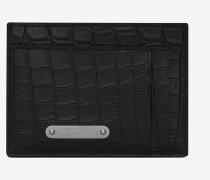 ID Kartenetui aus schwarzem Leder mit Krokodillederprägung und Geldscheinclip