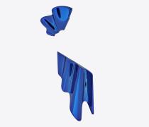 Set Babylone Ohrringe aus metallic-blauem Messing