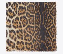 großer, quadratischer schal aus beigem und schwarzem etamin mit leopardenprint