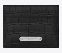 id kreditkartenetui aus schwarzem leder mit krokodillederprägung