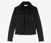 Kurze Jacke aus Schafleder mit Shearling Schwarz