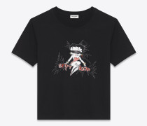 Boyfriend-T-Shirt aus schwarzer Baumwolle mit elfenbeinfarbener und roter Betty Boop-Stickerei