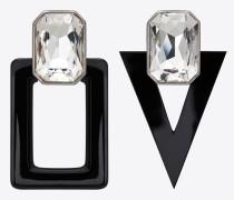 Smoking Ohrringe aus schwarzem Harz und weißen Kristallen