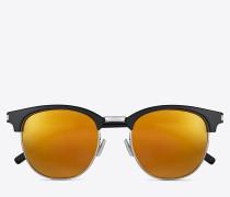 klassische sl 108 sonnenbrille mit glänzend schwarzem acetat-gestell und goldfarbenen verspiegelten gläsern