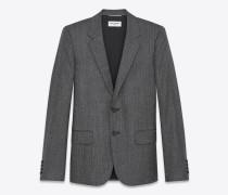 Klassisches Einreiher-Jackett aus schwarzer und weißer Wolle mit Rautenwebmuster