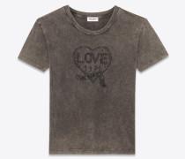 t-shirt aus ausgebleichtem, schwarzem destroy-jersey mit love 1971-stickerei