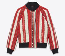 varsity-jacke aus roter und kalkweißer berberwolle