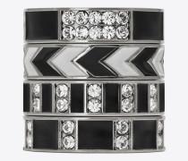 4er-set smoking ringe aus silberfarbenem messing, schwarzem email und weißem strass