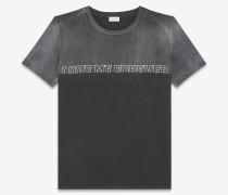 """""""LOVE ME FOREVER OR NEVER"""" T-Shirt aus verwaschen dunkelgrauem und schwarzem Baumwolljersey"""