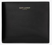 klassisches saint laurent paris east/west portemonnaie mit münzfach aus schwarzem leder