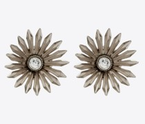 Smoking Clip-Ohrringe mit Gänseblümchen aus Metall Kristall Silber