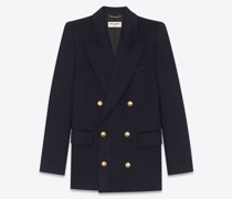 Zweireihige Jacke aus Kaschmir-Flanell Blau