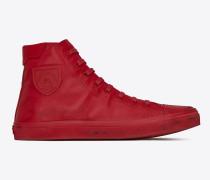bedford halbhohe sneaker aus rotem leder in used-optik