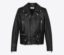 Bikerjacke aus schwarz glänzendem Vintage-Leder
